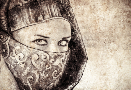 niqab: Sketch made with digital tablet of arabic woman, desert