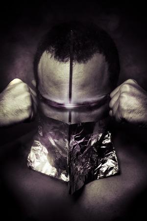 gasmask: Mask.Environmental disaster. Post apocalyptic survivor in gas mask