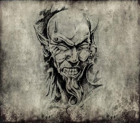 Tattoo art, sketch of a devil head photo
