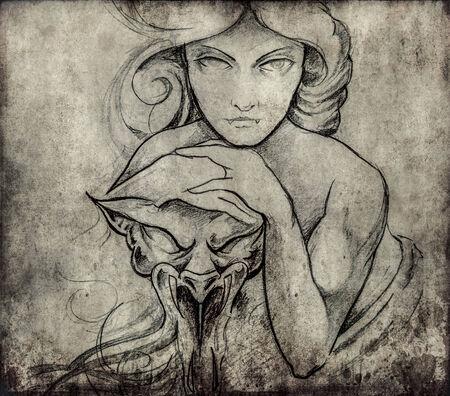 mistic: Tattoo art, sketch of mistic woman Stock Photo