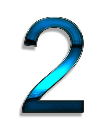 two, illustration of  number with blue chrome effects on white background