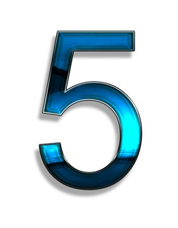 five, illustration of  number with blue chrome effects on white background illustration