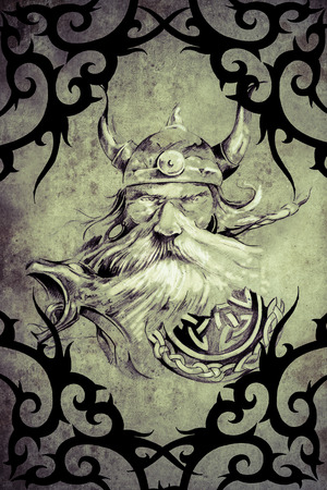 Tattoo art design, viking warrior decorated with tribal artworks over vintage paper photo