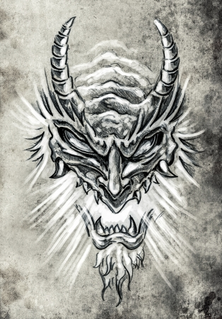 Tattoo art, sketch of a japanese monster mask Stock Photo
