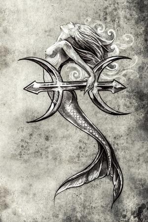 figuras abstractas: El arte del tatuaje, dibujo de una sirena, el estilo de la vendimia piscis