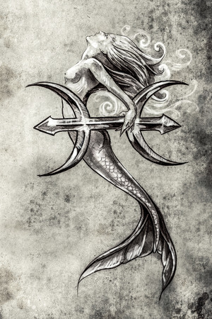 abstract figures: Tattoo art, sketch of a mermaid, pisces vintage style Stock Photo