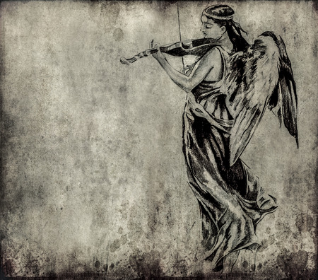 Tattoo art, sketch of an angel over vintage background photo