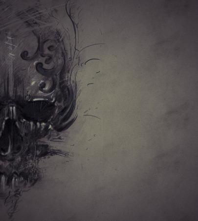 skull and flowers: Cr�neo de tatuaje en el papel de �poca, el dise�o hecho a mano