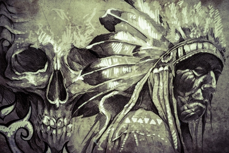 Tattoo sketch of American Indian tribal chief with skull photo