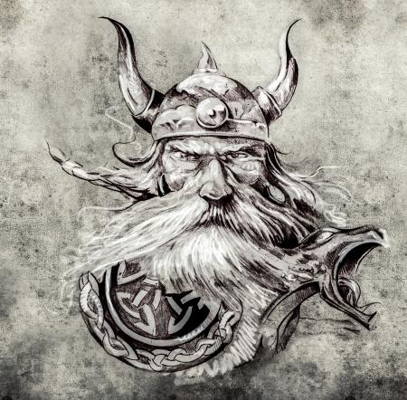 문신 예술, 바이킹 전사의 스케치, 롱 보트 바이킹에 고대의 나무 장식물의 그림 스톡 콘텐츠