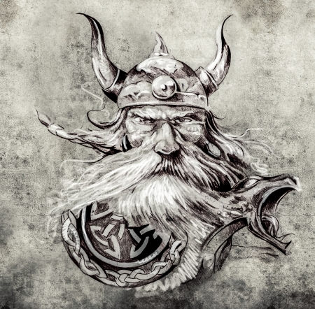 chief headdress: Tattoo art, sketch of a viking warrior, Illustration of an ancient wooden figurehead on a Viking longboat Stock Photo