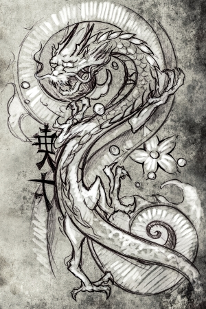 chinese new year dragon: Tattoo art, sketch of a japanese dragon Stock Photo