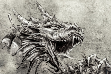 dragon tattoo: Tattoo art, sketch of a anger medieval dragon