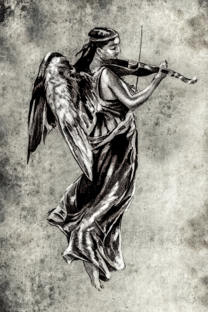 Sketch of tattoo art, music angel with violin photo