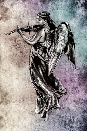 Sketch of tattoo art, angel with violin over colorful background photo