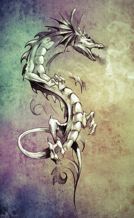 Sketch of tattoo art, big medieval dragon, fantasy concept over colorful paper photo
