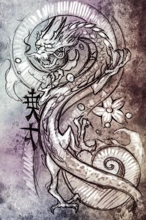 Tattoo art, sketch of a japanese dragon over colorful paper photo
