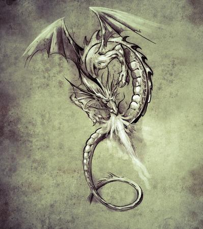 Sketch of tattoo art, Fantasy dragon. Sketch of tattoo art, medieval monster Stock Photo