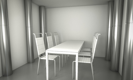 Domestic.Clean diner room, chairs and white table  over clean space. silver columns. photo