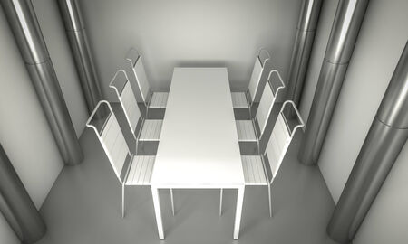 Clean diner room, chairs and white table  over clean space. silver columns. photo