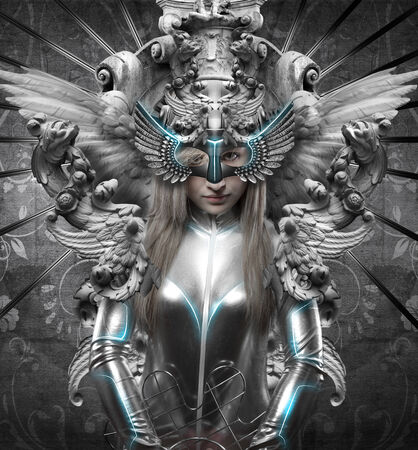 deity, dressed in silver princess, fantasy concept, blonde woman dressed in armor photo