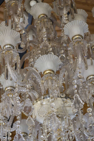 crystal chandelier.Glamour concept background with copy space photo