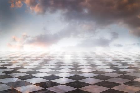 Gamero schaak, stukken marmer vloer Stockfoto