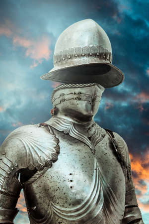 valor: Antivirus.Medieval armor over clouds background. Concept of firewall protection