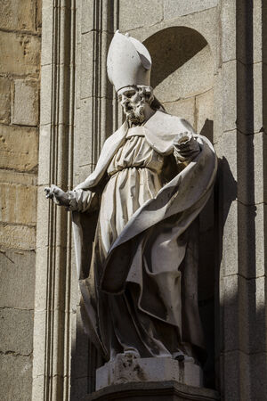 toledo town: Toledo, imperial city. sculptures on the facade of the Cathedral Stock Photo