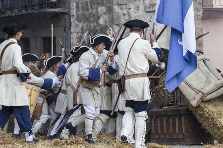 regiment: Assault city of Brihuega, during the re-enactment of the War of Succession. September 4, 2010 in Brihuega, Spain