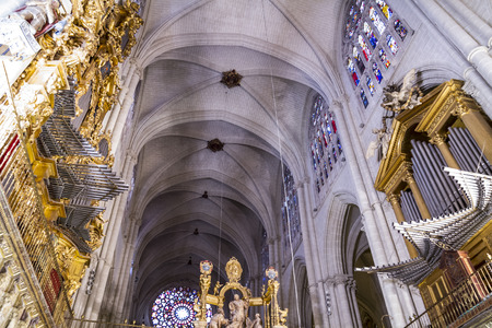 Inside the cathedral of toledo, stained glass, organ, chapel, imperial city. Spain