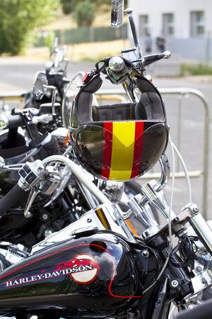 twin engine: Madrid, Spain. 26 June 2010. Harley Davidson meeting. Editorial