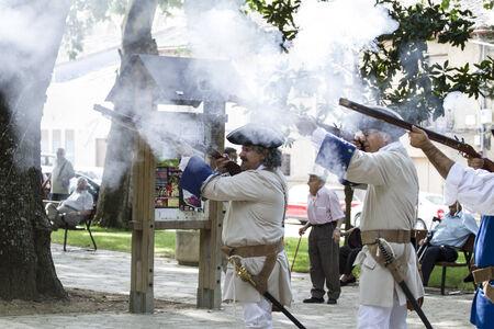 regiment: Royal Guardsman during the re-enactment of the War of Succession. September 4, 2010 in Brihuega, Spain Editorial