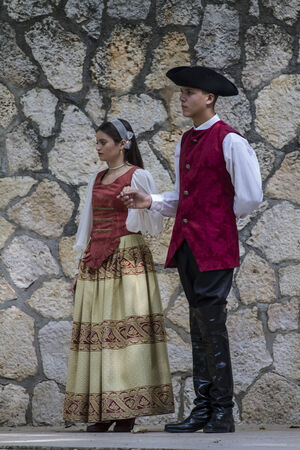 period costume: Spanish classical and popular dance, during the re-enactment of the War of Succession. September 4, 2010 in Brihuega, Spain Editorial