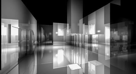 reflects: 3d business room, Hall  building with light and reflects. modern design concept