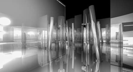 reflects: White, 3d business room, Hall  building with light and reflects. modern design concept