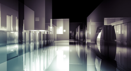 reflects: Loft light, 3d business room, Hall  building with light and reflects. modern design concept