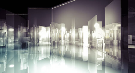 reflects: Office, 3d business room, Hall  building with light and reflects. modern design concept