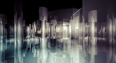 Interior, 3d business room, Hall  building with light and reflects. modern design concept photo