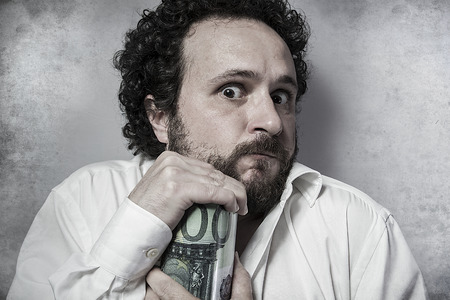 pennypinching: Save, stingy businessman, saving money, man in white shirt with funny expressions
