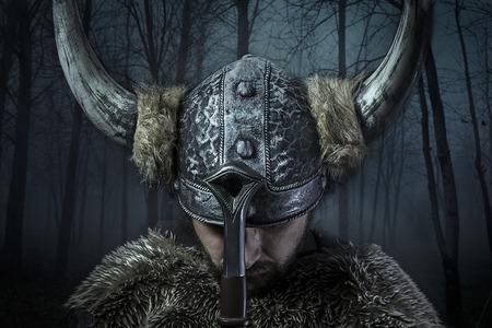 Frieden, Wikinger-Krieger, Mann im Stil Barbar mit Schwert gekleidet, bärtig Standard-Bild - 26335210