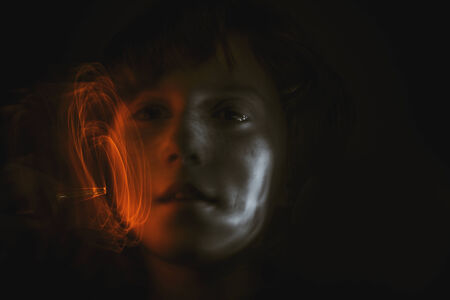 girl with paint light effects photo