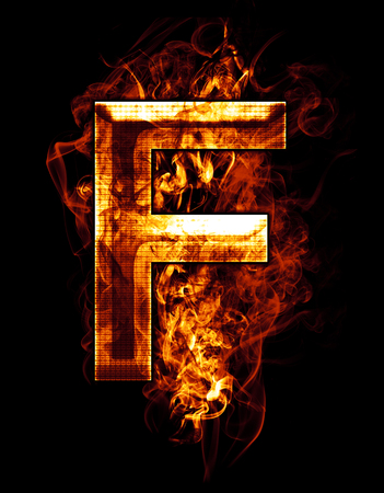 f, illustration of  letter with chrome effects and red fire on black background illustration
