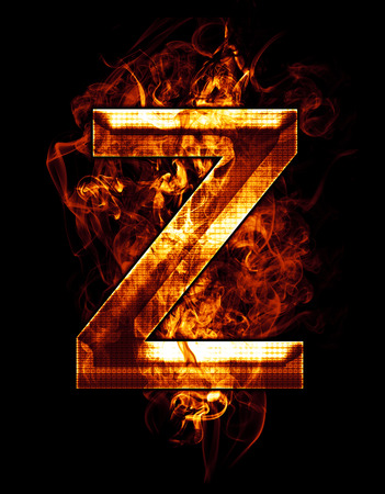 z, illustration of  letter with chrome effects and red fire on black background