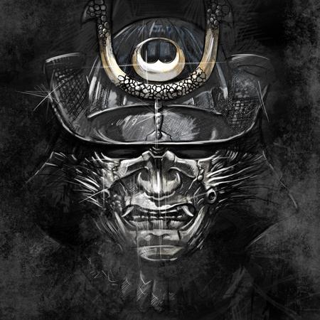 guerrero: ilustraciones de un guerrero samurai japon�s m�scara Foto de archivo
