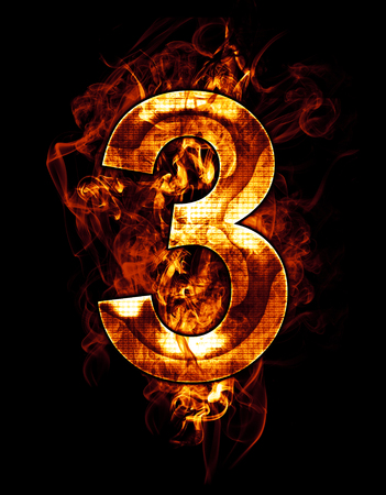 three, illustration of  number with chrome effects and red fire on black background Stock Photo
