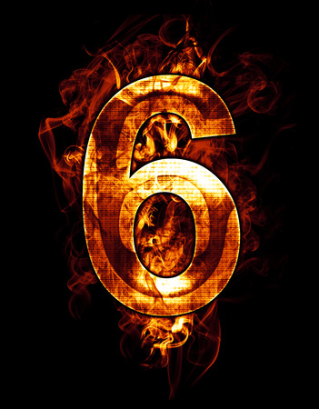 six, illustration of  number with chrome effects and red fire on black background illustration