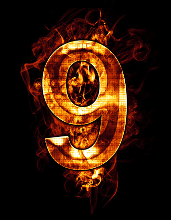 nine, illustration of  number with chrome effects and red fire on black background illustration