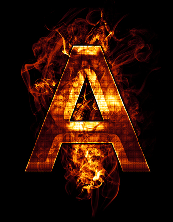a, illustration of  letter with chrome effects and red fire on black background illustration