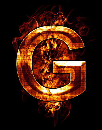 g, illustration of  letter with chrome effects and red fire on black background illustration